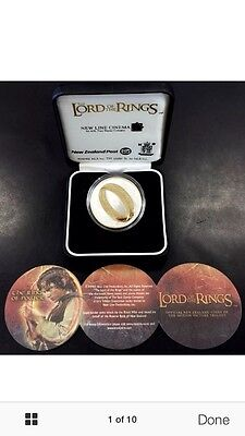 2003 new zealand lord of rings silver coin coa box