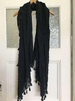 Jac and Jack Black Cotton Scarf