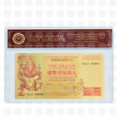 WR Colored Hong Kong Banknote Gold $1 Million Dollar Polymer Crafts China Dragon