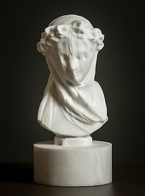 MARBLE bust of Veiled Lady by Monti carved statue figurine artist sculpture