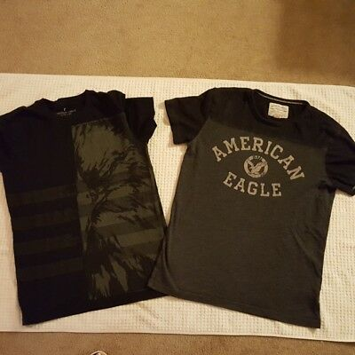 Lot of 2 Mens XS  T-Shirts, American Eagle, Black and Grey