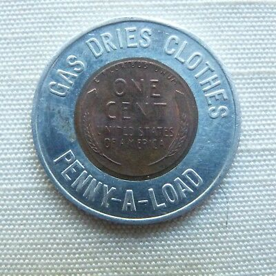 Gas Dries Clothes Penny-A-Load 1955D encased penny