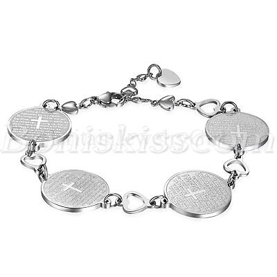 Women Girls Stainless Steel Round Charms LORD'S PRAYER Cross Bracelet Link Chain