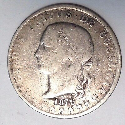 1879/4 Ball-Tailed 9 Silver 5 Decimos Colombia - Nice! Take A Look!!