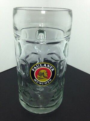 Paulaner Munchen 1 liter German Beer Stein Mug Dimpled Glass 1L