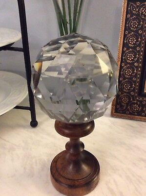 Massive Newel Post Finial Crystal Glass Facet Cut Boule D'escalier French
