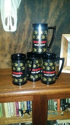 4x Lot Budweiser Thermo Serv Beer Steins. Vintage New,  1980s Bud Anheuser, 16oz