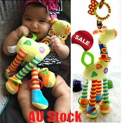 Cute Baby Giraffe Model Rattle Ring Bell Music Baby Bed Hanging Toy kids gift P6