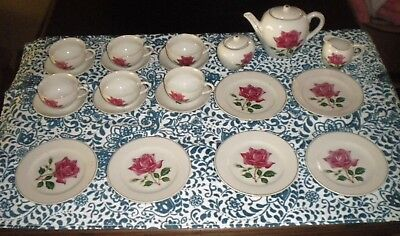 Vintage Floral China Childs Toy Tea Set Made In Japan  IN BOX