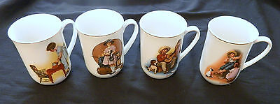 Norman Rockwell Coffee Cups / Mugs Party Time Music Maker Sour Note VTG Four