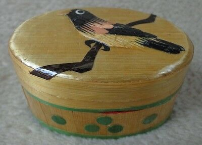 Nice Chinese Lacquer Straw / Bamboo Bird Trinket Box ~ FREE SHIPPING