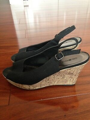 New Women's Black Wedge Shoes Size 10