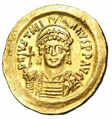 "Justinian I Gold Solidus ""Angel Facing"" Constantinople SB 140 Exceptional MS"
