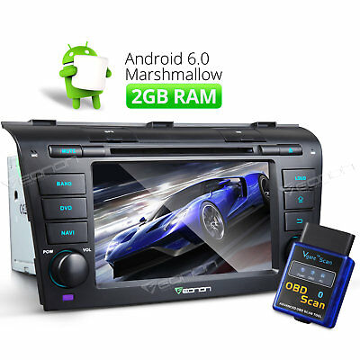 "7"" Quad-Core Car DVD GPS Tracker Android 6.0 for Mazda 3 2005 W + OBD2 Scanner"
