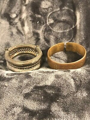 2 Bronze Alloy Currency Bracelet African Ethnic Jewelry Rare.  Free shipping