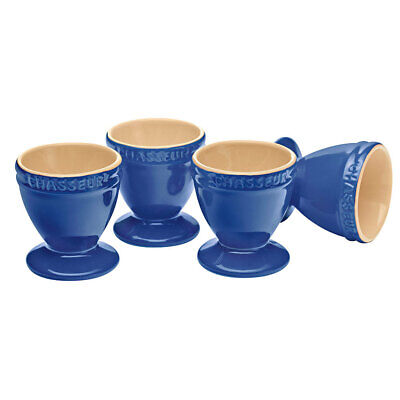 Chasseur La Cuisson 4pc Boiled Egg Cup/Holder/Stand Set Blue Oven Safe Tableware
