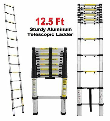 Ladder Portable 12.5 Feet Telescopic Aluminum Extension Ladder Heavy Duty