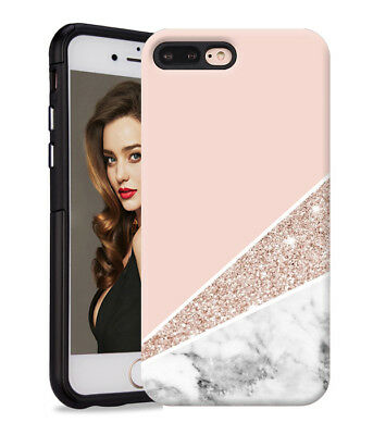 Marble Shape Stone Dual Layer heavy duty Case Cover F Apple iPhone 7 8 Plus