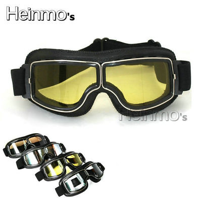 Goggles Glasses Motorcycle Helmet Bike Retro Aviator Pilot Outdoor Yellow Lens