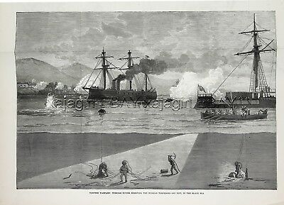 Divers Removing Torpedoes, Poti Georgia Black Sea, Large 1870s Antique Print