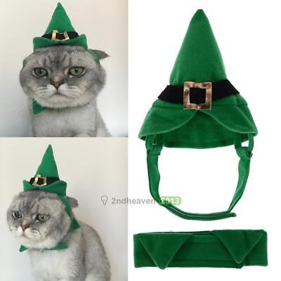 Pet Hats Christmas Green Dogs Pointed Hat Party Dress Up Cap with Necklace Set