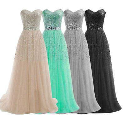 Sexy Women Long Formal Prom Bridesmaid Dress Sequins Cocktail Party Ball Gown UK