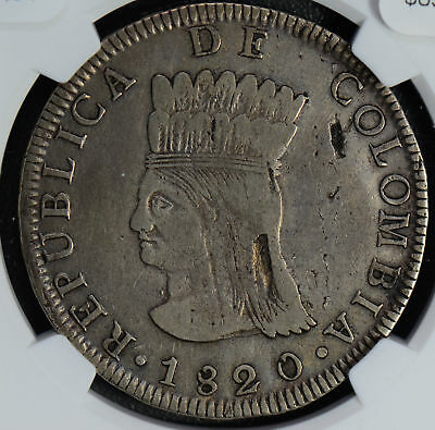 NG0481 Colombia 1820 8 Reales silver NGC VF30 rare in this grade, indentation ar