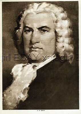 MUSIC Johann Sebastian Bach, Lovely 1913 Antique Print
