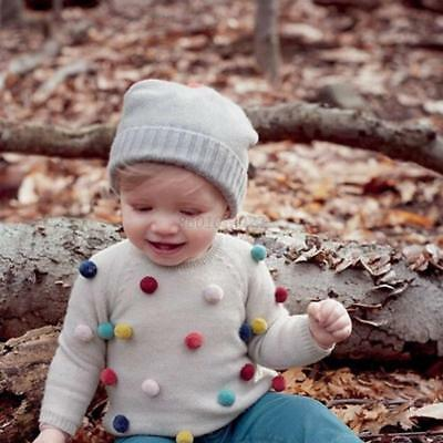 Toddler Baby Boys Girl Hairball Sweater Winter Casual Warm Long Sleeve Blouse AU