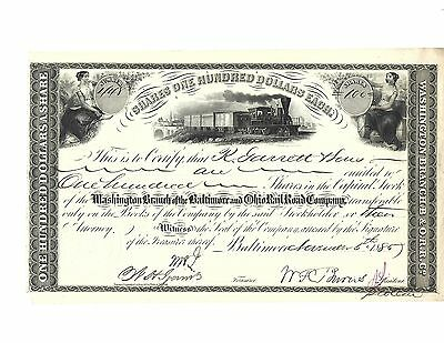 Washington Branch of Baltimore and Ohio Railroad Stock Certificate-1885