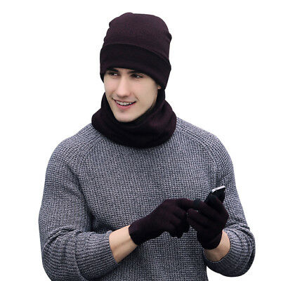 3in1 Mens Womens Warm Knitted Hat Beanies Cap Scarf Neckerchief Gloves Set New