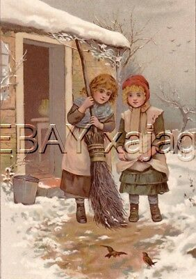 SISTERS feeding Robins, Antique Color Chromolith Print