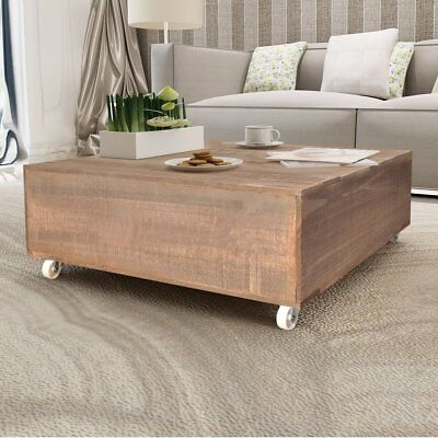 #Coffee Side Table with Castors Living Room Furniture Square Brown Solid Wood
