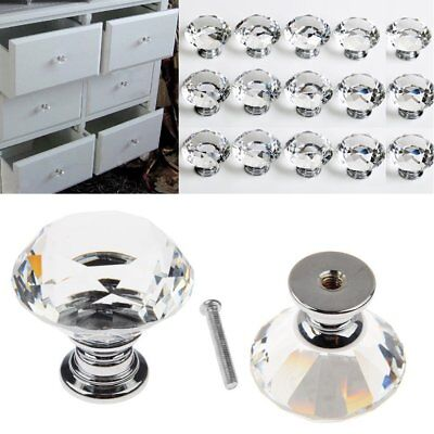 32pcs 30mm Crystal Glass Door Knobs Cupboard Drawer Cabinet Handle Incl. Screw