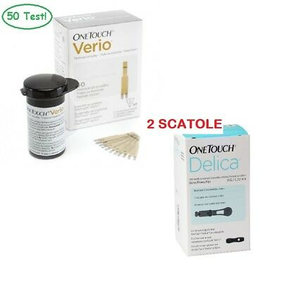 One Touch Verio 50 Strisce Glicemia + 50 Aghi One Touch Delica