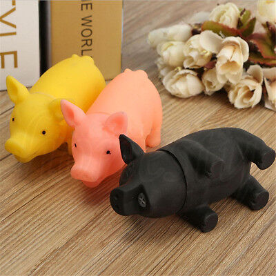 2PCS Dog Pet Chew Fetch Rubber Pig Grunting Animal Squeaky Play Kids Toy Squeak