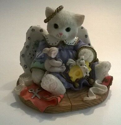 Enesco Calico Kitten Friendship is Heavenly Figurine Cat Sewing Mouse Numbered