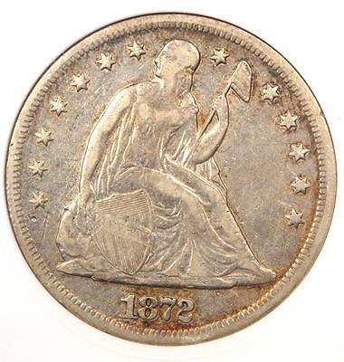 1872 Seated Liberty Silver Dollar $1 Coin - Certified ANACS XF Detail / Net VF30