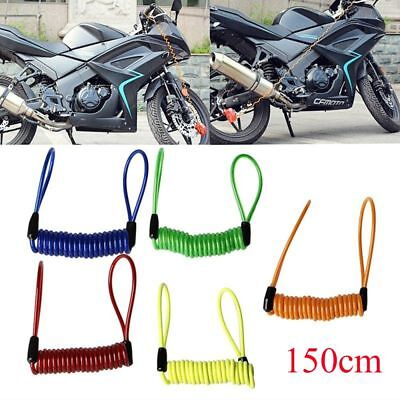 150cm Motorcycle Safety Lanyard Spring Disc Coil Wire Brake Lock Reminder Cable