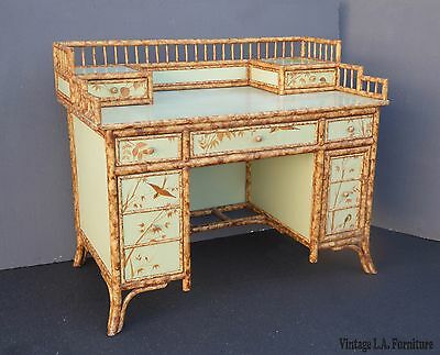Unique Vintage Chinoiserie Light Green Floral Design Rattan & Wood Writing Desk