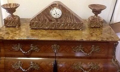 French Art Deco Rouge Marble Clock Garniture