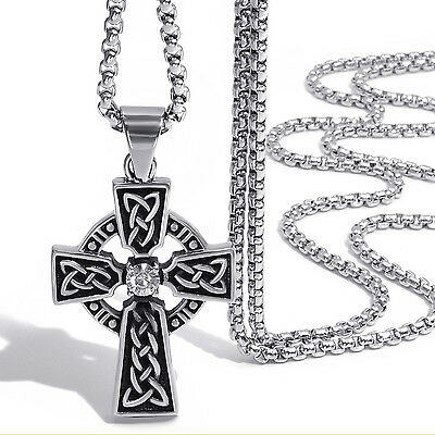 Mens Women's Celtic Cross CZ Stainless Steel Pendant with Box Chain Necklace Set