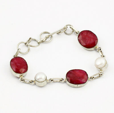 925 Sterling Silver Overlay Ruby Pearl Bracelet Handmade Fashion Jewelry