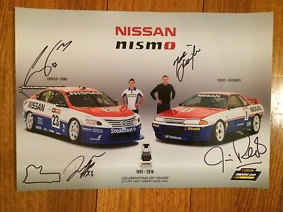Signed Skaife - Richards - Caruso - Fiore Nissan GT-R 25 years Race Win poster