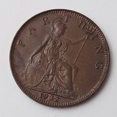 Dated : 1932 - Copper - One Farthing - Coin - King George V - Great Britain