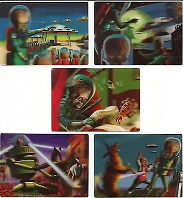 2012 Topps Heritage MARS ATTACKS 50th Anniversary 5 Card 3D Lenticular Chase Set