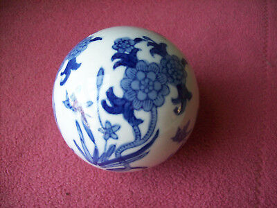 Collectible Blue & White Floral Ball Decorative Ceramic Ball 3-1/4""