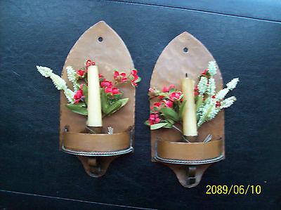 Pair Of Antique Mission Arts & Crafts Era Copper Wall Sconces Handmade SIGNED