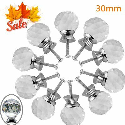 10PCS 30mm Crystal Cabinet Knobs Clear Handle for Kitchen Cupboard Dresser Pull