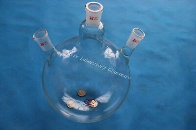 5L 5000ml 3-neck Lab Glass Round bottom boiling flask Joint 24/40,heavy wall